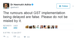 revenue secreetary tweeted on GST